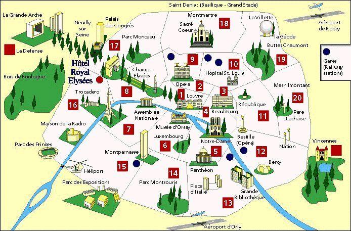 Kaart Van Parijs Bezienswaardigheden Parijs Kaart Kaarten Parijs