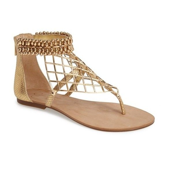 c28dc05e1 Jessica Simpson 'Kyla' Beaded Thong Sandal ($70) ❤ liked on Polyvore  featuring shoes, sandals, gold, beaded sandals, ankle cuff sandals, strappy  sandals, ...