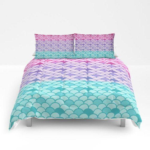 Pastel Mermaid Scales Comforter Duvet, Mermaid Bedding Twin