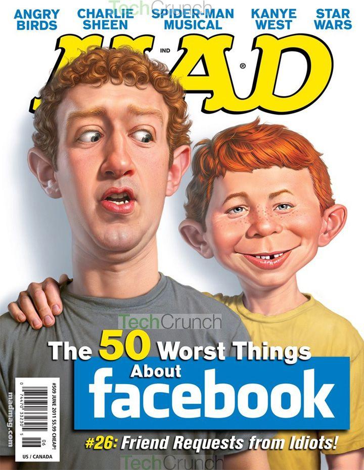 Mark Zuckerberg with Alfred E. Newman on Mad Magazine Cover