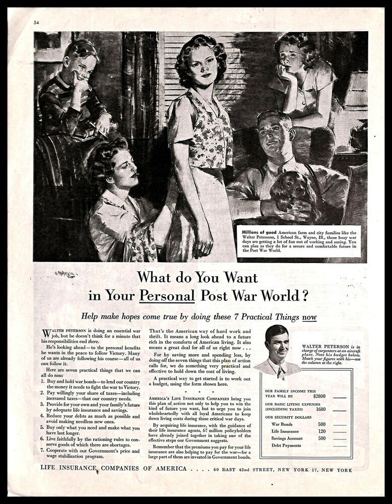 1943 Life Insurance Companies Of America Vintage Print Ad Wwii Illustration Art Print Ads Illustration Art Vintage Prints