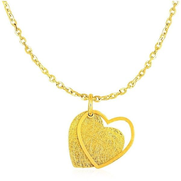 Two layer heart pendant in 14k yellow gold 835 pen liked on two layer heart pendant in 14k yellow gold 835 pen liked on polyvore aloadofball Gallery