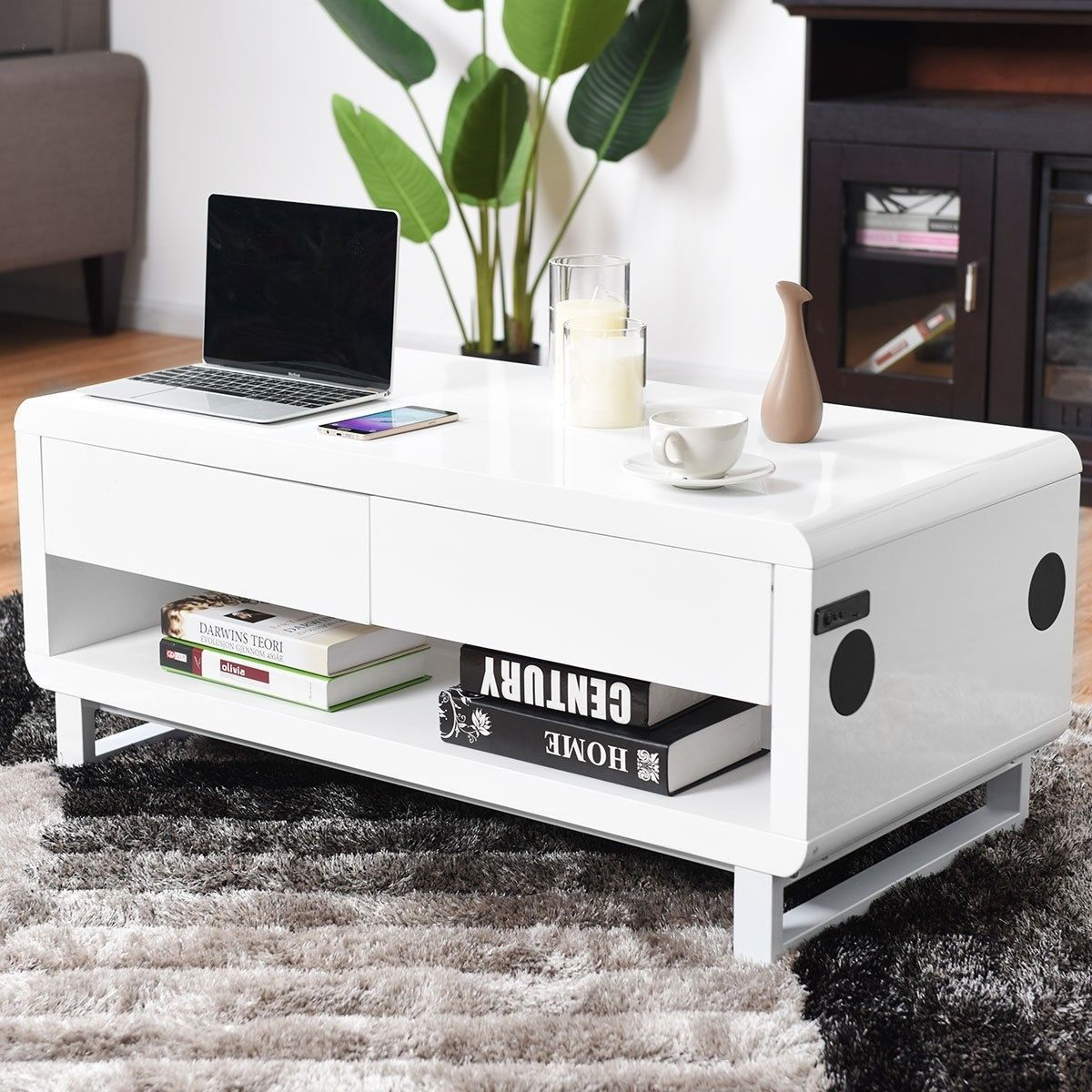 Bluetooth Speakers Drawer Led Light Modern Coffee Table Modern