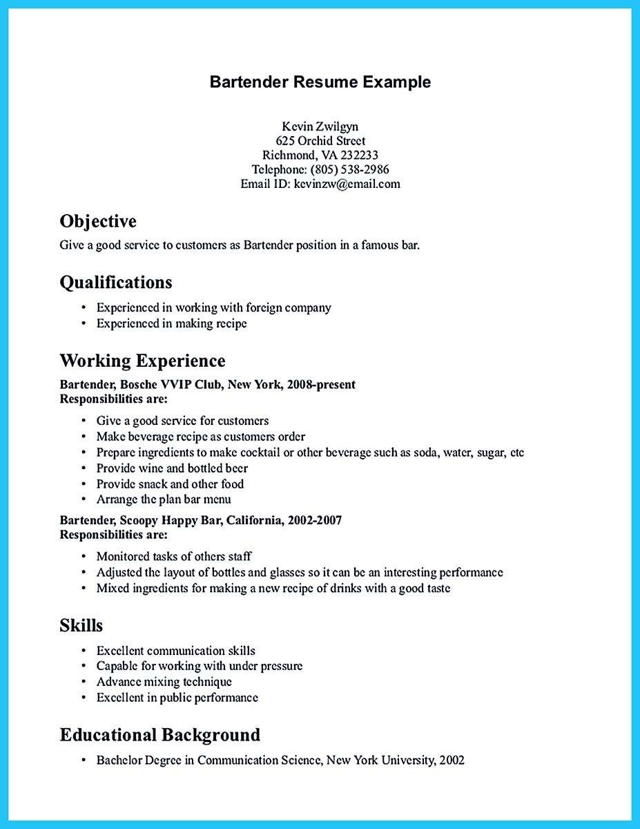 Nice Impressive Bartender Resume Sample That Brings You To A Bartender Job Job Resume Examples Resume Examples First Job Resume
