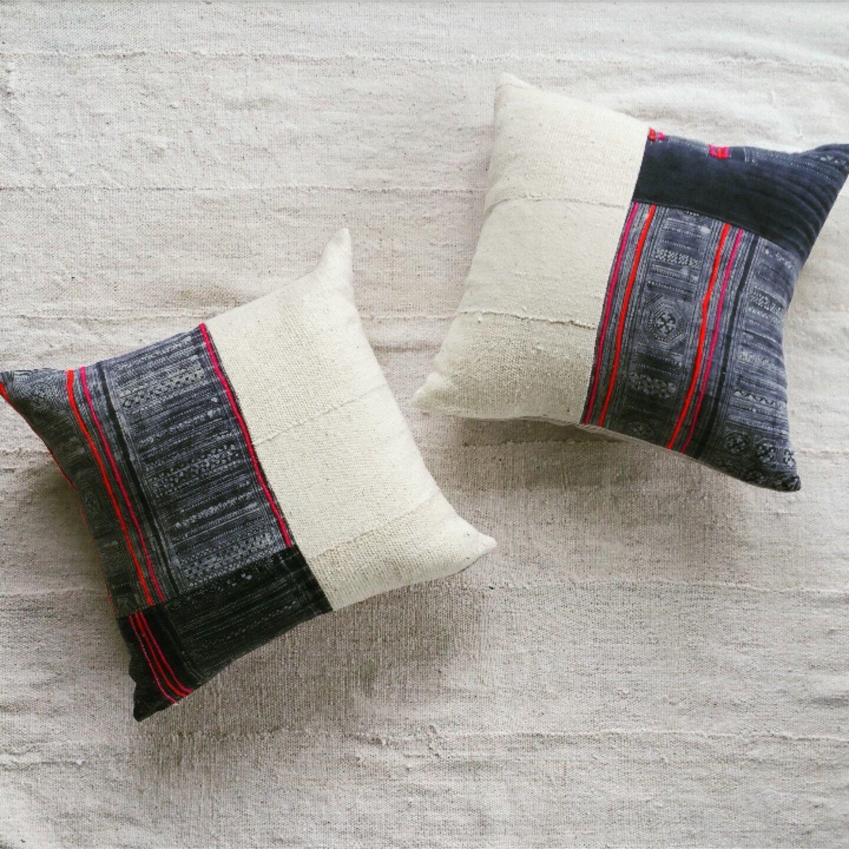 Chinese batik pillow cover indigo and mudcloth throw