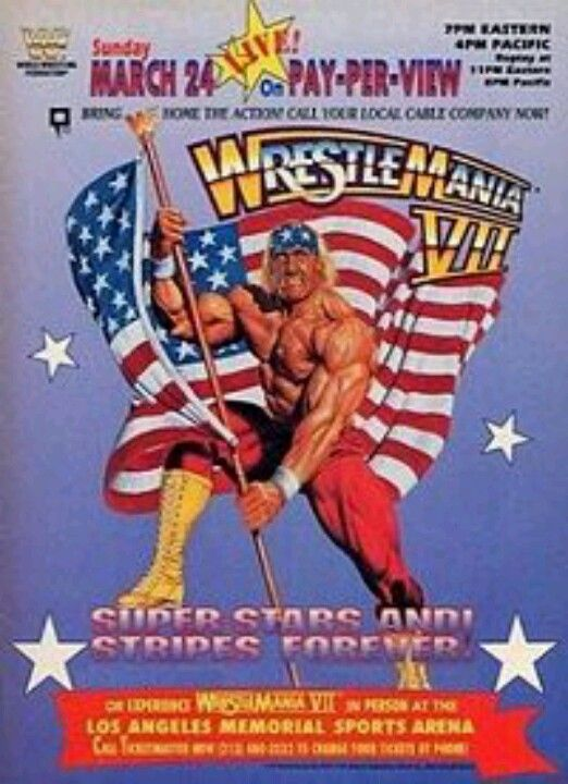 Wrestlemania VII Hulk Hogan | Wwf poster, Wwe ppv
