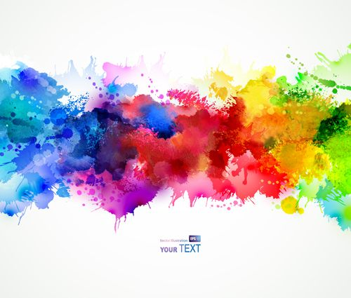 Multicolor Watercolor Splash Background Illustration Vector 04
