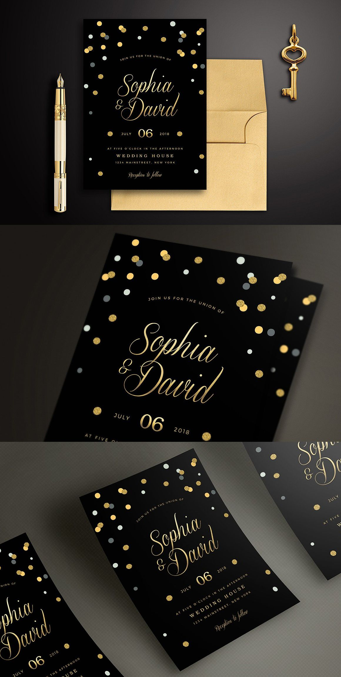 Black Gold Wedding Invitation Gold Wedding Invitations Wedding Invitation Cards Wedding Invitation Card Design