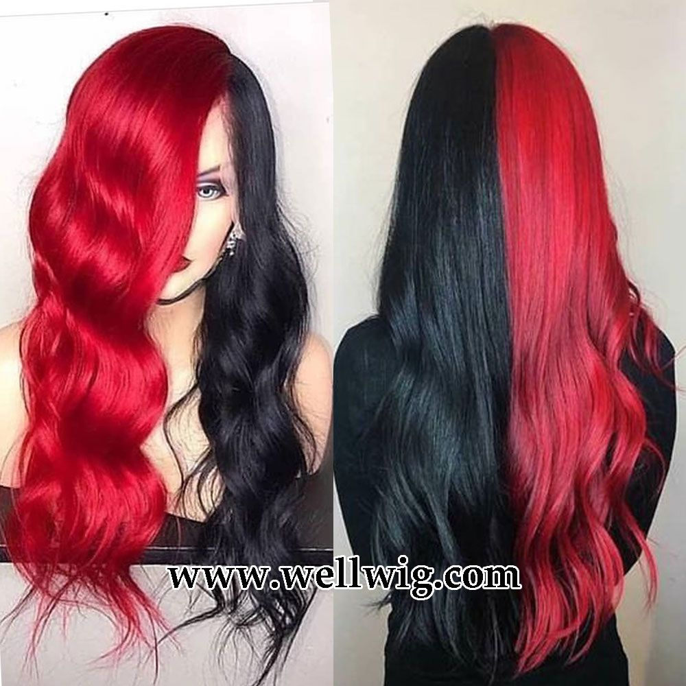 Hald Red And Hald Black Human Hair Lace Wig Hair Color For Black Hair Split Dyed Hair Black Red Hair