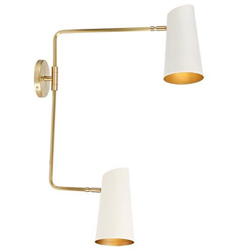Cypress Double Swing Arm Sconce Brushed Satin or Oil-Rubbed Bronze with Satin White Shades
