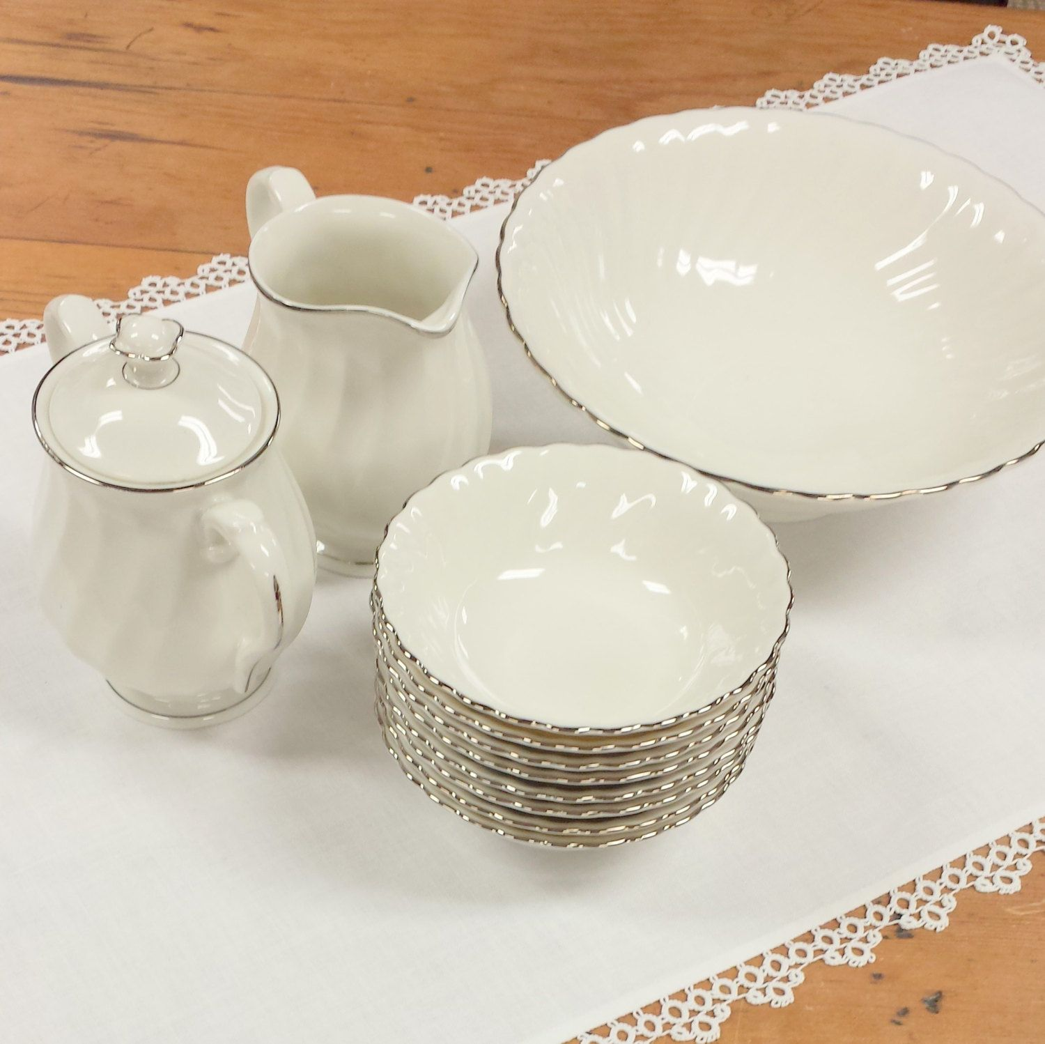 11 pc Dessert Serving Set ~ Silhouette Fine China by Syracuse ...