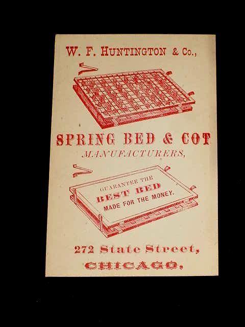 1880 vintage original w f huntington spring bed cot business card 1880 vintage original w f huntington spring bed cot business card chicago otis ebay reheart Images