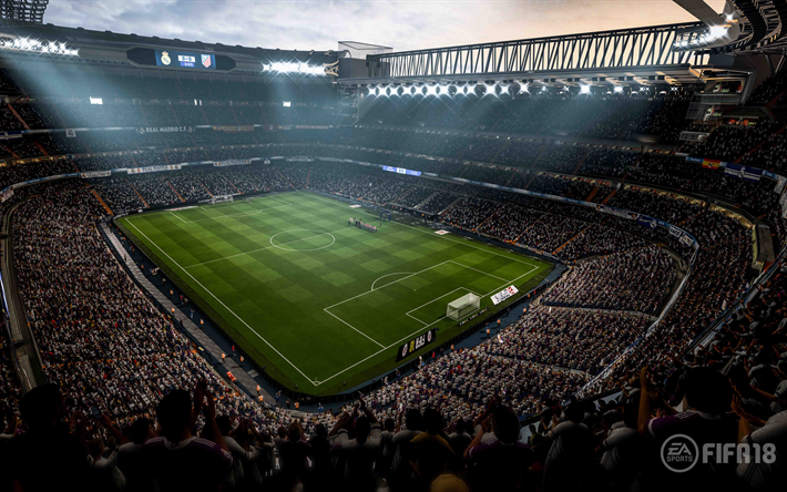 Download wallpapers Santiago Bernabeu, 4k, FIFA 18, Real Madrid Stadium, 2017 games, football simulator, FIFA18, Real Madrid