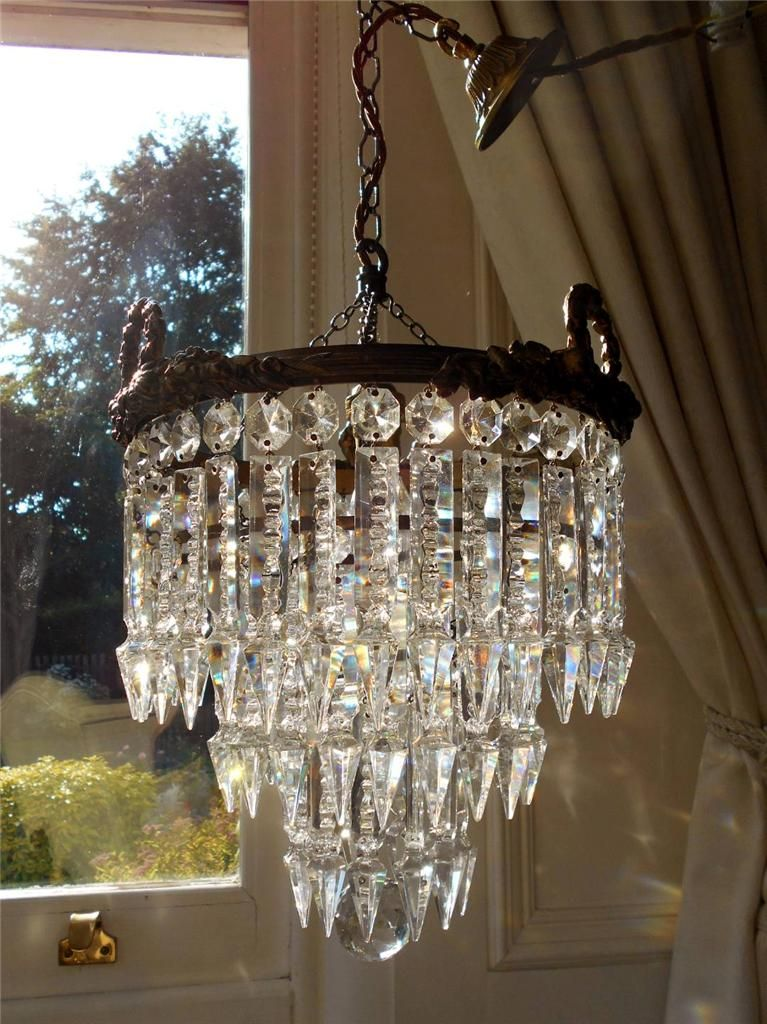 Vintage French Bronze 3 Tier Lead Crystal Chandelier Lampade A