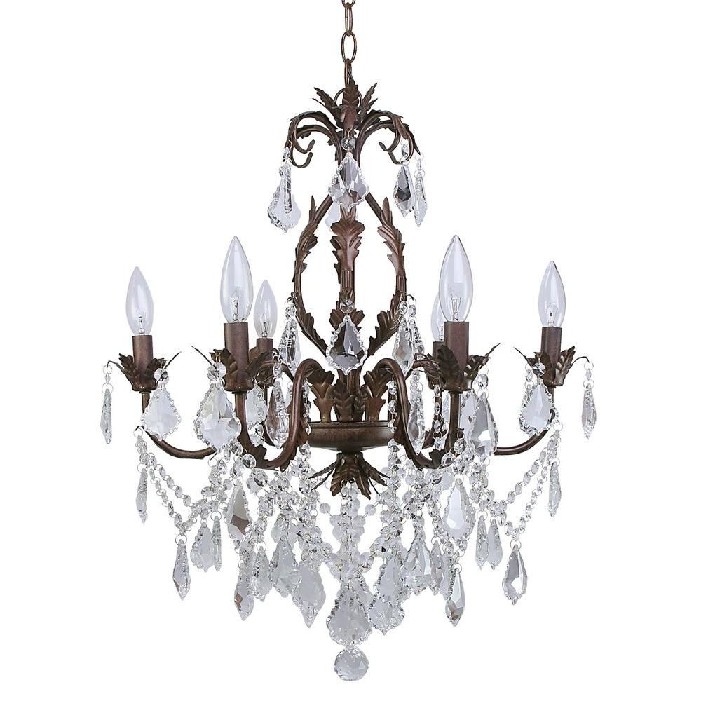 Canarm heritage 6 light painted aged iron chandelier with crystal canarm heritage 6 light painted aged iron chandelier with crystal drops 880546 arubaitofo Gallery