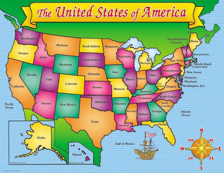 USA Map Friendly Chart  School Classroom Ambientation