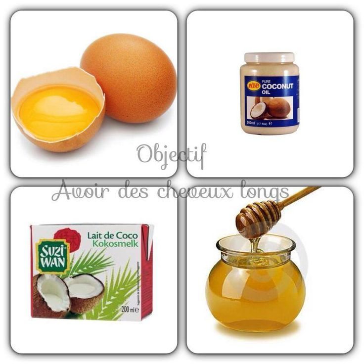 recette de masque pour les cheveux: oeufs, huile de coco, lait de coc, miel