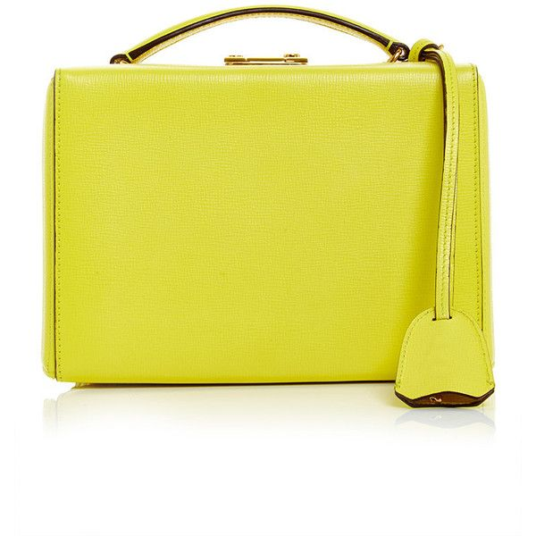 Mark Cross Grace Small Box Bag in Lemon Saffiano Leather (153.915 RUB) ❤ liked on Polyvore featuring bags, handbags, mark cross, yellow bag, handle bag, yellow purse and top handle bag
