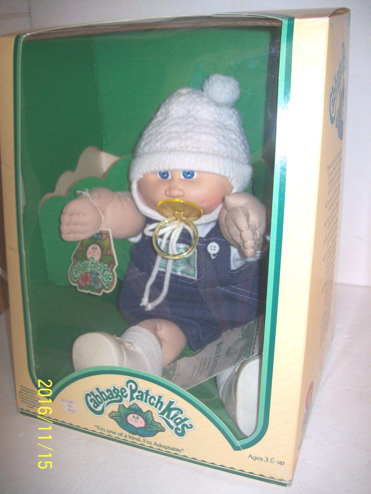 Vintage 1983 Cabbage Patch Kids Boy Preemie Doll Pacifier Hat Papers In Box Cabbage Patch Kids Boy Cabbage Patch Kids Cabbage Patch