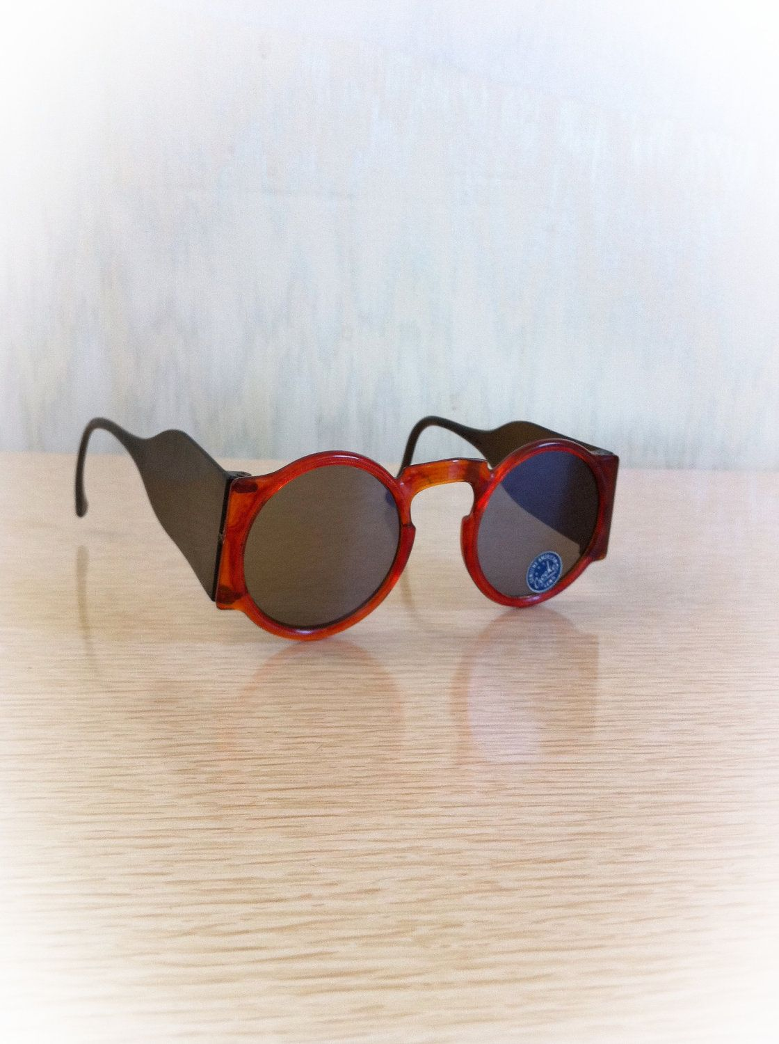 1940s Brownish Red Sunglasses Round Crookes Lens Blinkers