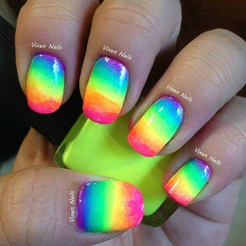 Rainbow Neon Nail Designs | Nail Colors | Pinterest | Neon nail ...