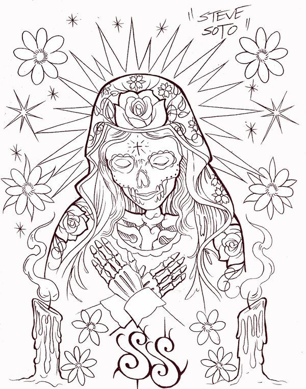 Chicano Art Coloring Pages Pin by Evan Robertson on slick like rick Skull coloring