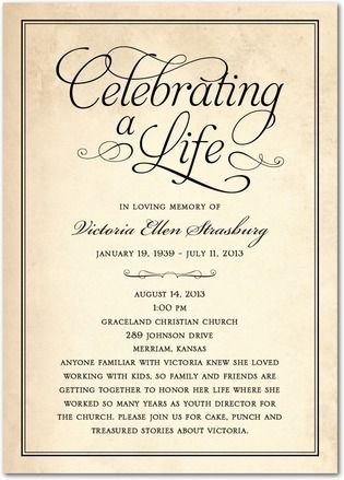 Celebrating A Life Memorial Invitations In Black Or Sienna Brown Hello Little One Memorial Service Invitation Funeral Reception Funeral Invitation