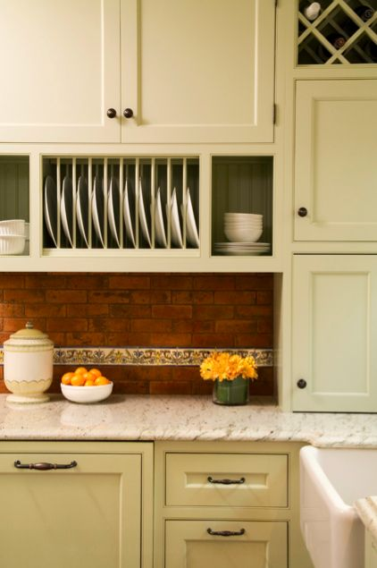 Built-in kitchen plate rack under cabinet between the door and window? #plateracks