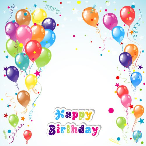 Balloon Ribbon Happy Birthday Background 01 Free Birthday Background Design Birthday Background Birthday Background Images