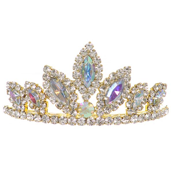 """3"""" X 1.5"""" Dazzling stoned tiara  Perfect for special occasions  AVAILABLE COLORS:  AB Gold - AB Silver - Aqua - Black - Fuchsia - Gold - Green  Lilac - Orange - Pink - Plum - Red - Royal - Silver - Teal - Yellow  We ship most orders within 24 h..."""