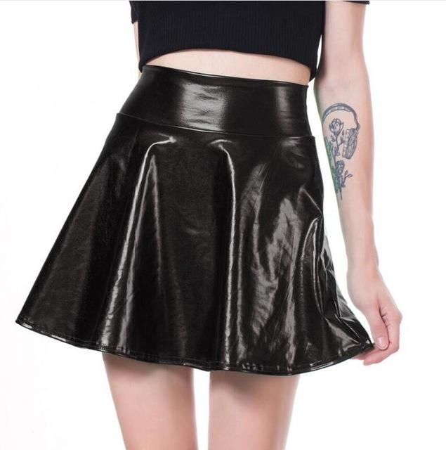 $17.90 3%off6 Womens pu skirt with three levels patchwork