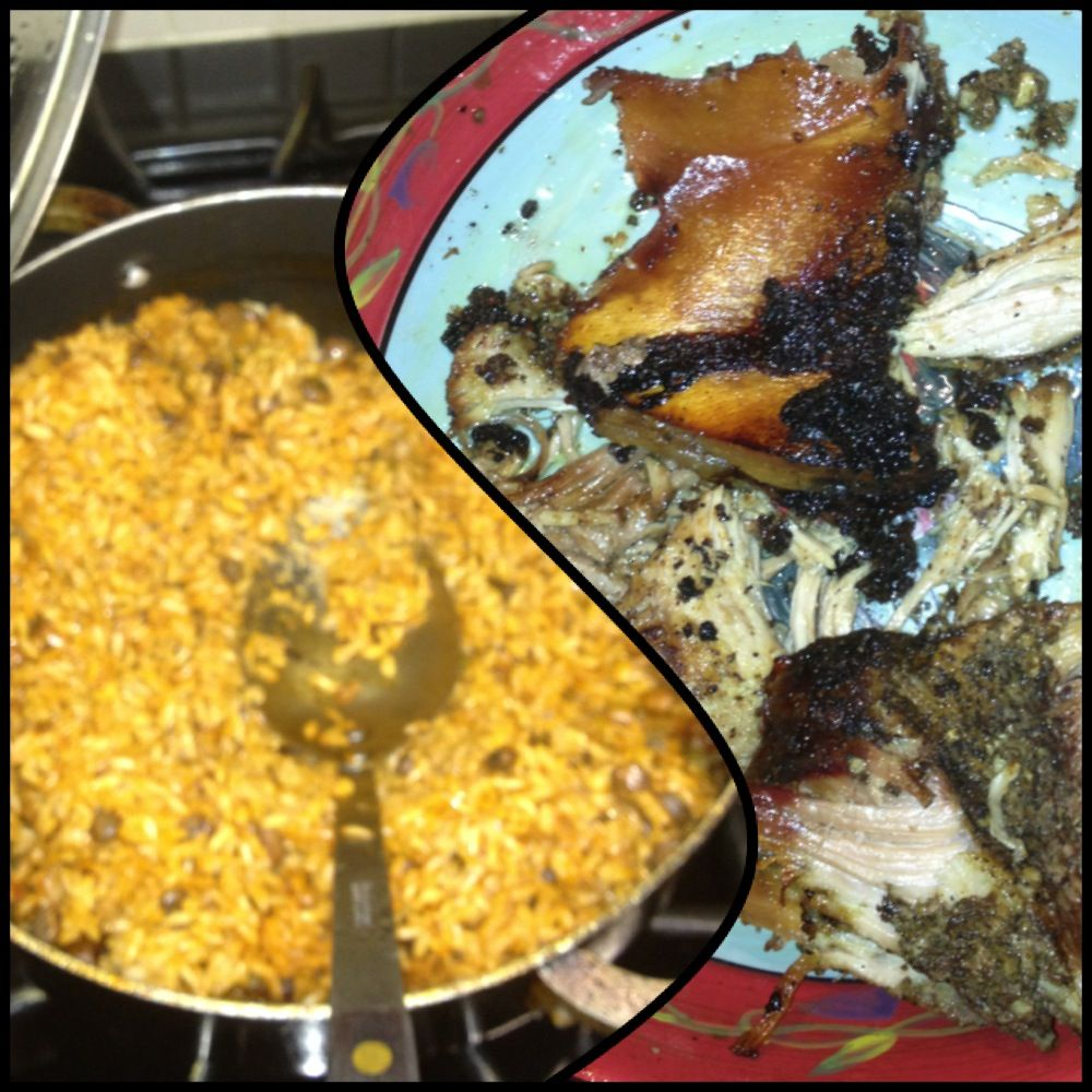 #Dinner is Served!! #ArrozConGandules & #Pernil !! Gotta love the crunchy skin! #picnicshoulder #pork #porkpicnicshoulder #porkskin #puertoricanfood #comfortfood #nomnom #food #yummy #sogood #puertoricancuisine #rice #pigeonpeas #gandules #arroz #porkshoulder #homemade #nom