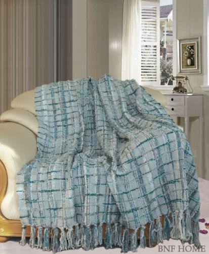 "Throw Blankets For Couches Fascinating Bnf Home Multi Color Chenille Couch Throw Blanket Blue 50X60"" Bnf Decorating Design"
