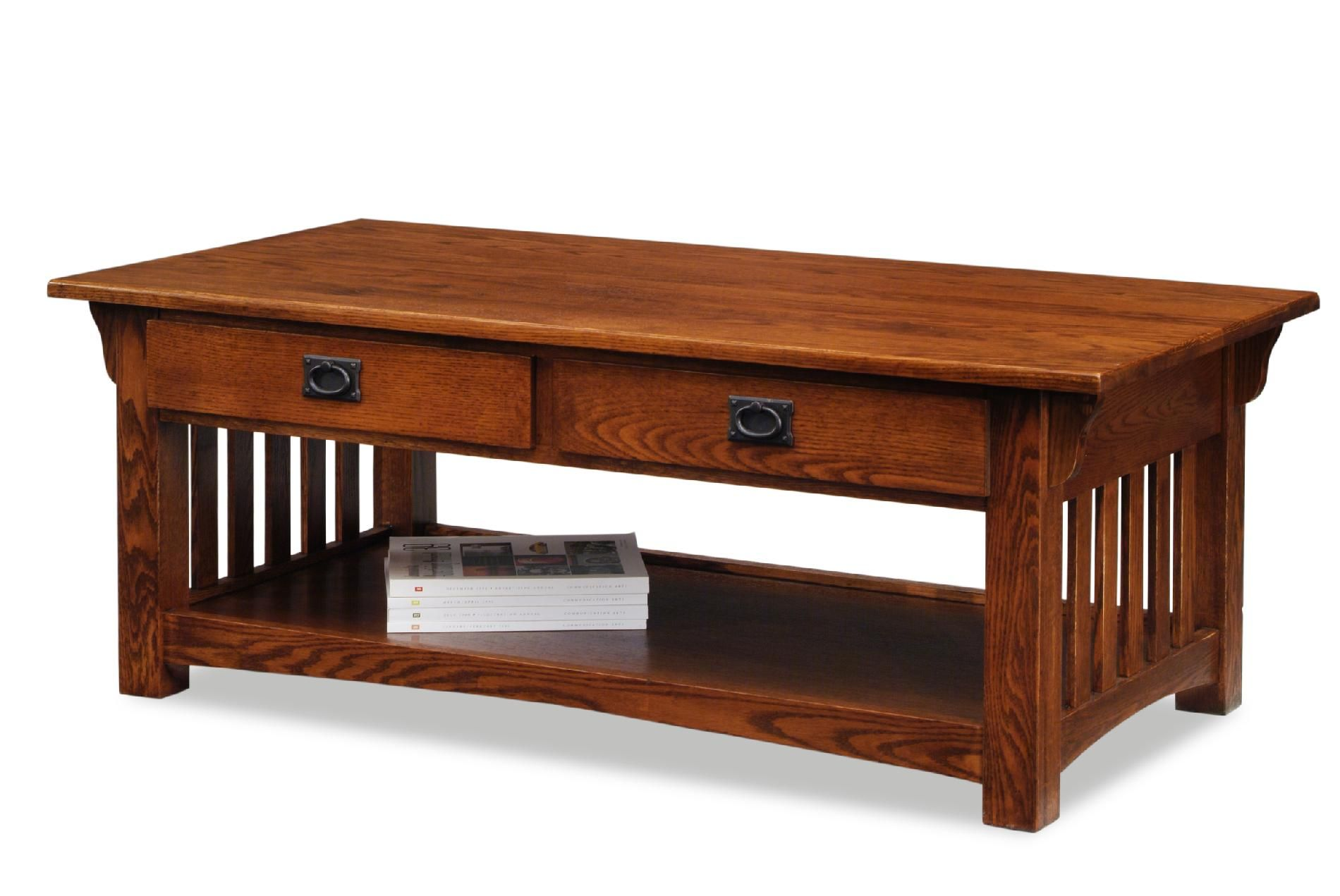 Leick Mission Coffee Table With Drawers And Shelf Medium Oak - Mission style coffee table with storage