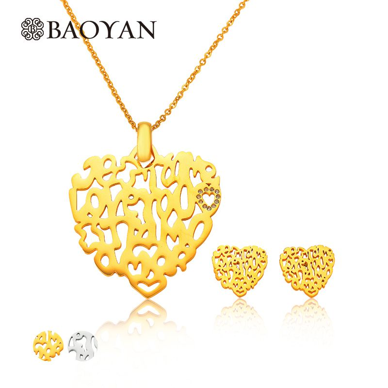 2016 Brand New Hollow Life Tree Gold Plated Jewelry Sets For Women Stainless Steel African Jewelry Set Necklace Earrings A5