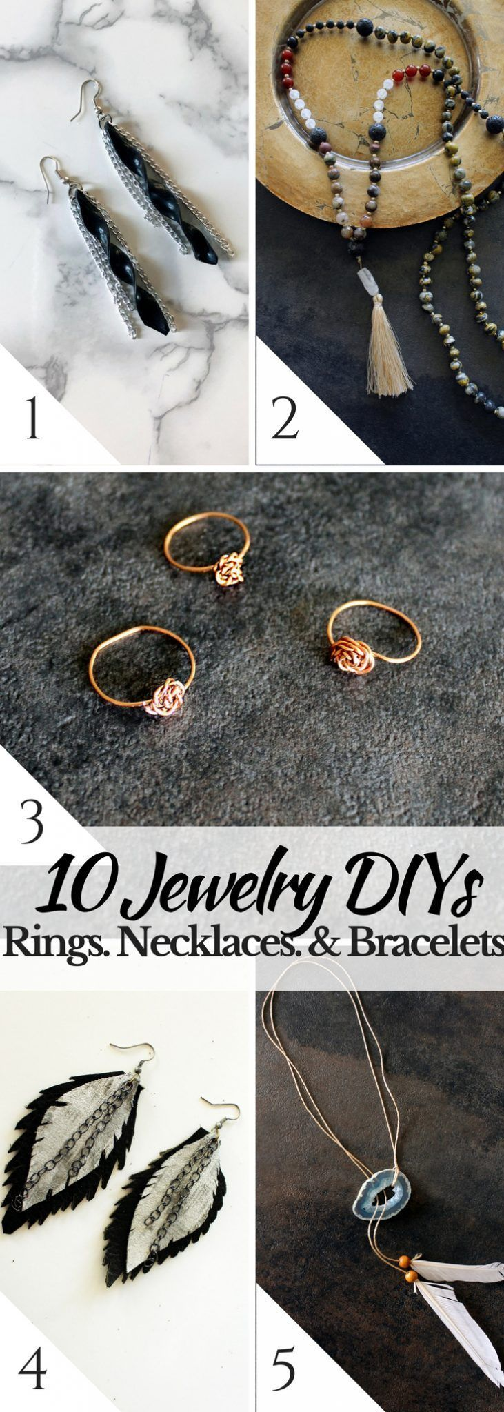 10 easy DIY jewelry ideas to make necklaces, bracelets, and earrings! Follow to easy tutorials toda