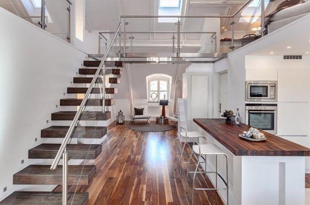 Loft Einrichten loft einrichten holzboden kueche weiss treppe inneneinrichtung