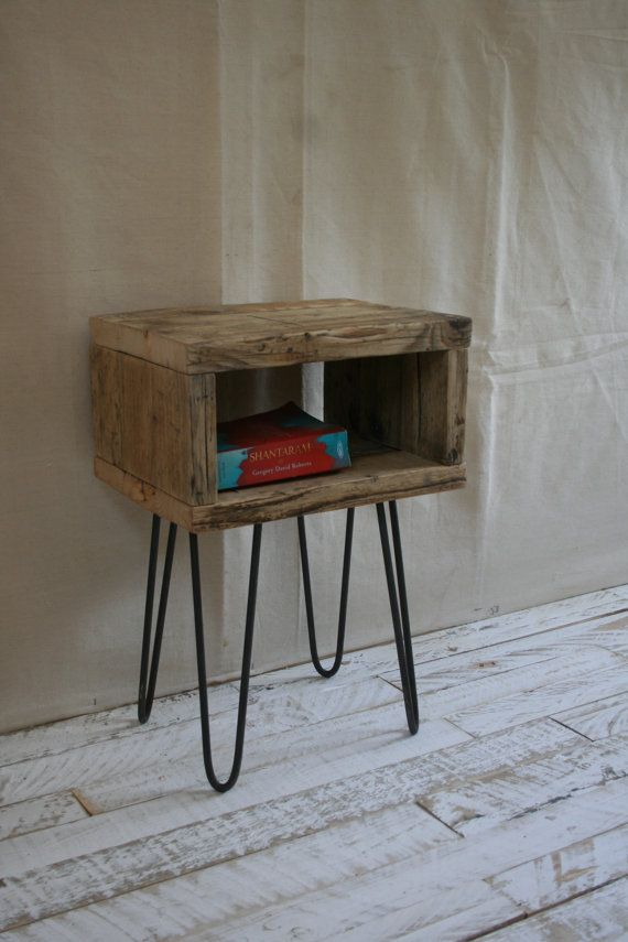 Hairpin Leg Bedside Table Made From Reclaimed Scaffold Boards Hairpin Legs Bedside Table Diy Furniture Upgrade Hairpin Legs