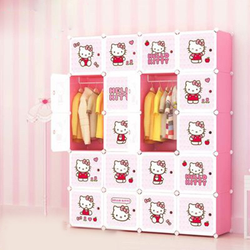 031437 Hallo Kitty Falten Kleiderschrank Für Kinder DIY Klapp Tragbare  Kunststoff Kleiderschrank Pp Schrank Mit Farbe