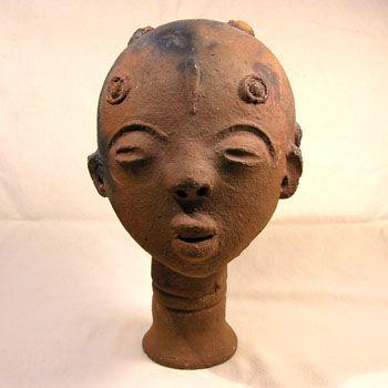 Akan Ceramic Memorial Head Ghana | Scultura  |African Artifacts From Ghana