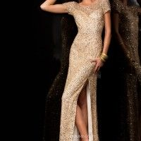 Champagne dress by Scala only worn once listed for $250 on PromAgain.com #promagain #prom #formal #dress #resale #buy #sell #cheap #used #preowned #champagne