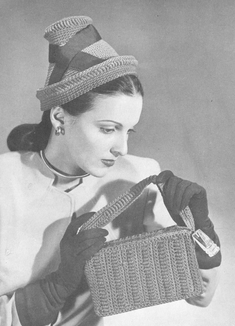 Vintage 1940s Crochet High Hat and Bag Pattern PDF 46… | Vintage ...