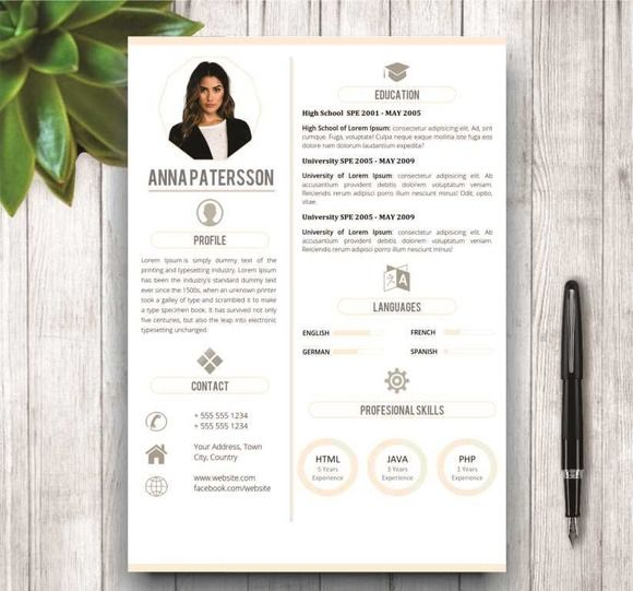 Minimalist Resume Template 4 Pages by wordresume on @creativemarket