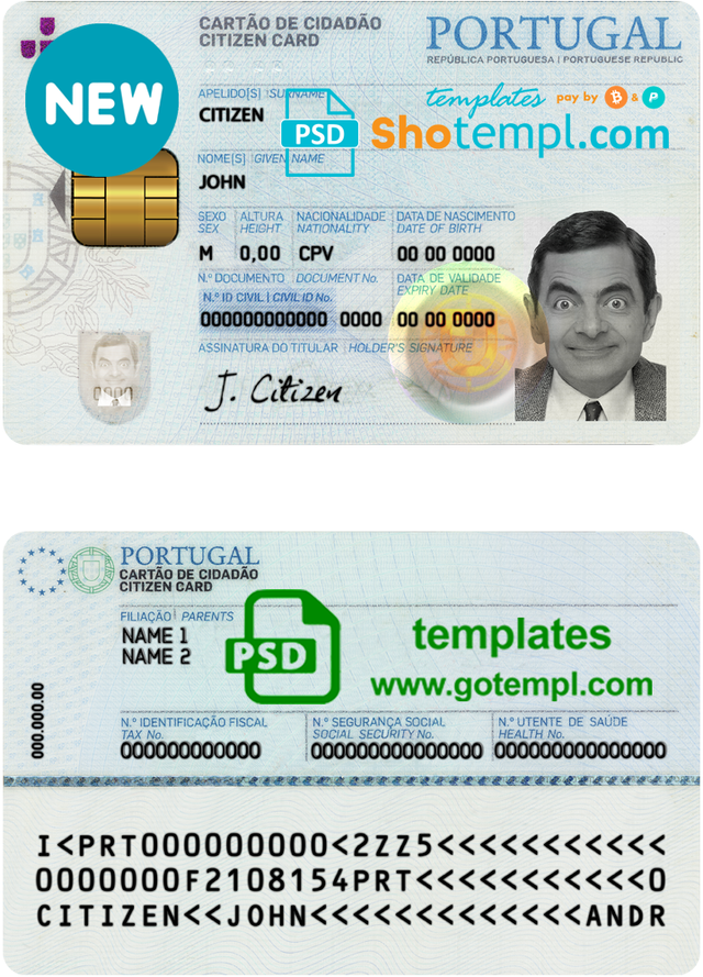 Portugal Id Template In Psd Format Templates Document Templates Psd