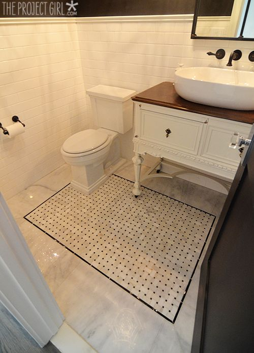 Black And Gold Powder Bathroom Reveal Tile Details Jenallyson Inspiring Floor Basketweave