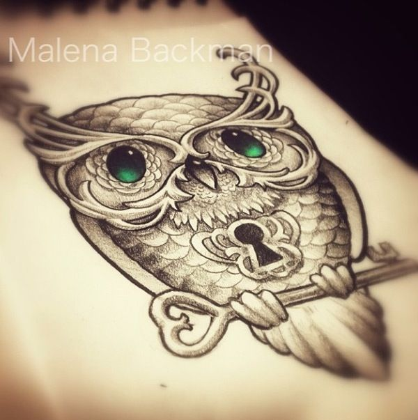 Owl Lock and Key Tattoo Draw...