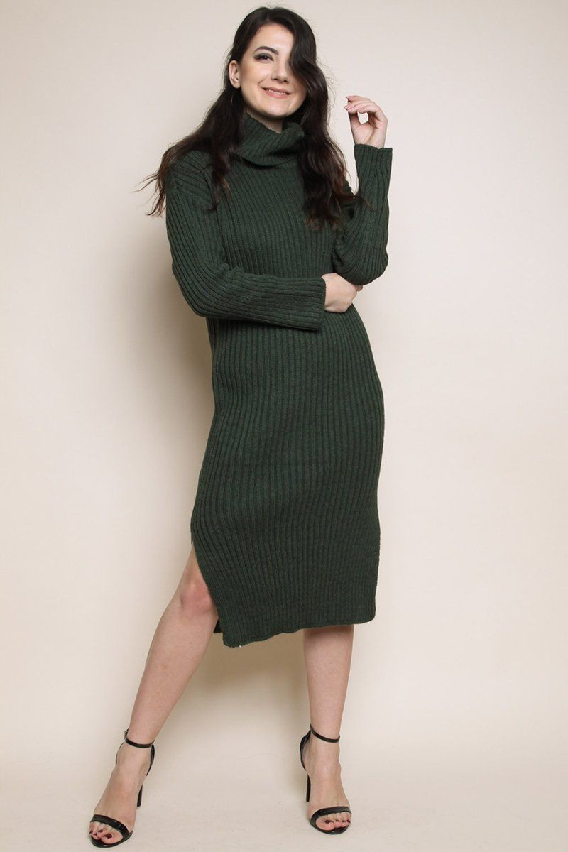professional sale release date: enjoy bottom price High Neck Knitted Midi Jumper Dress | On Trend Fashion ...