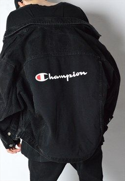 d9a3ba75743d REWORKED Vintage 90s Faded Black Champion Denim Jacket   123   Denim ...