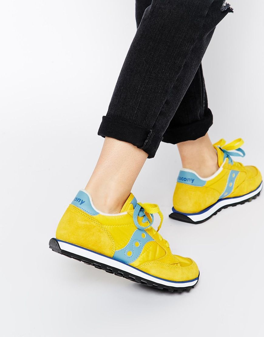 9855663c Saucony Jazz Low Pro Yellow/Blue Trainers | fashion | Blue ...