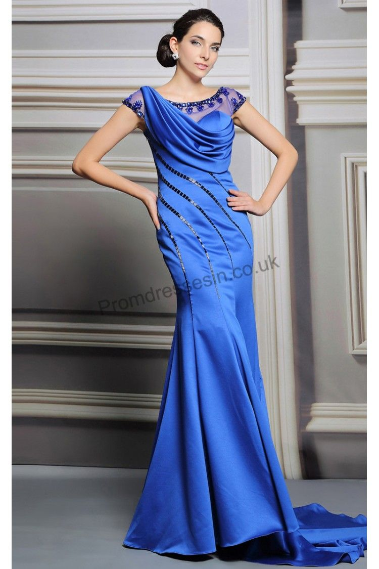 2015 Cerulean Cap Sleeves Mermaid Train Ball gown SY253 | 2015 ...